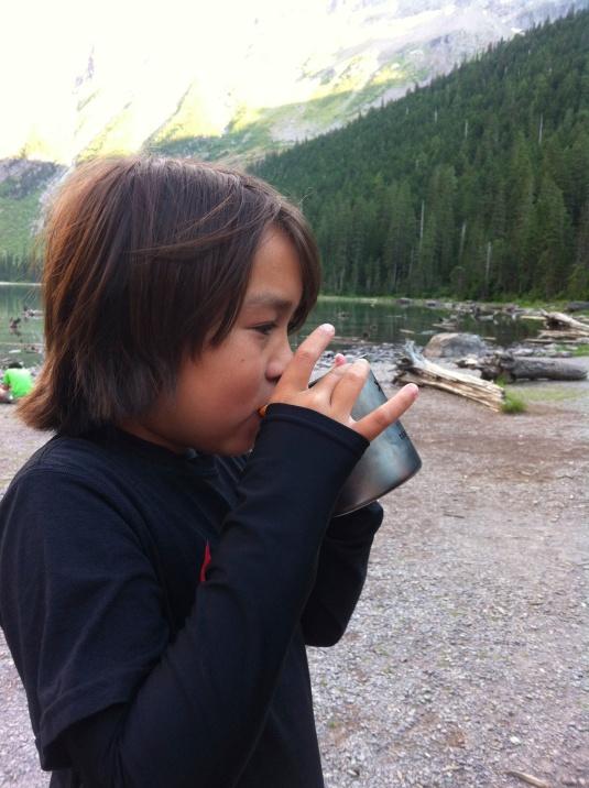 Drinking Tea from Dad's Snow Peak